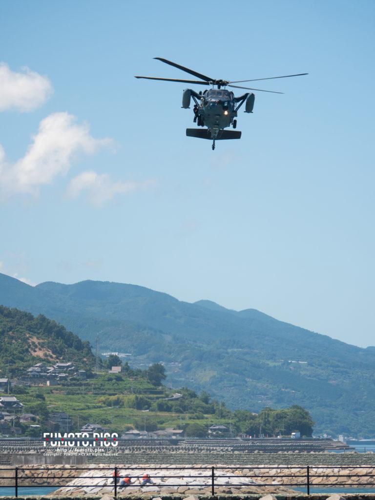 手持ちでUH-60J 救難ヘリコプター